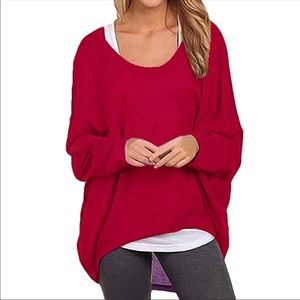 Ruby Red Cozy Comfy Batwing Loose Top